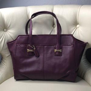 Authentic Coach Deep Purple Large Leather Tote Bag